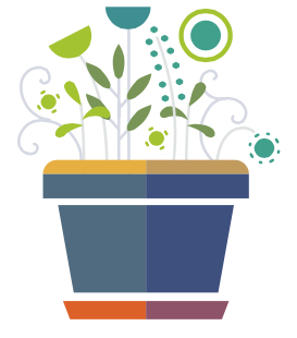 Colourful image of flowerpot