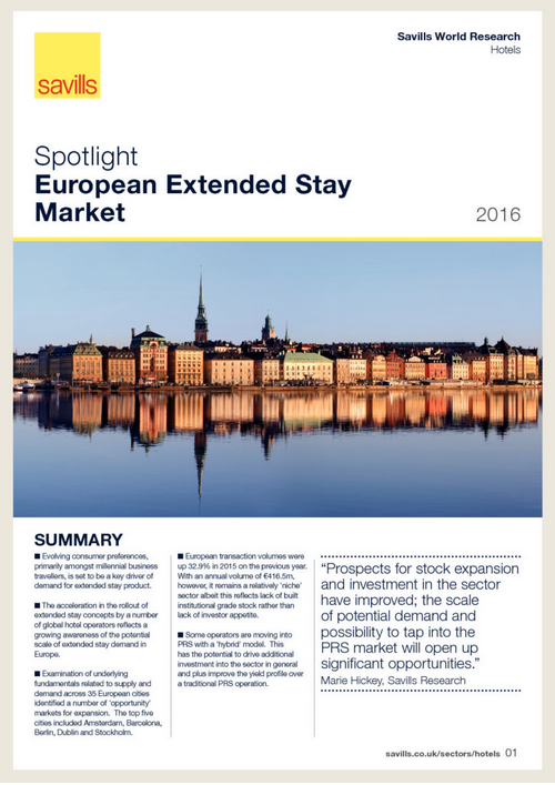 European extended stay market Savills document